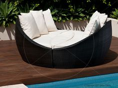 Encore Outdoor Day Bed - Black.    Part of the Wicker Outdoor furniture range.