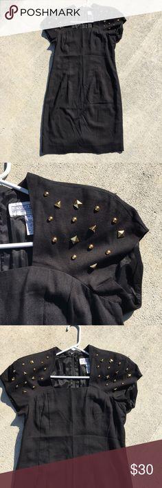 Jessica Howard 80's Studded dress Black knee length dress. Shoulder pad and Studded Shoulder detail. Size 14. Jessica Howard Dresses