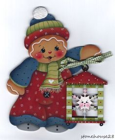 HP GINGERBREAD Snowflake Lantern FRIDGE MAGNET #Handpainted