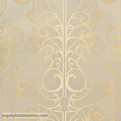 Papel Pintado Paris RS71408 con fondo beige y estampado en dorado.