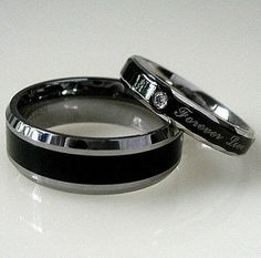 2 Black Bands His TUNGSTEN Hers STAINLESS STEEL Wedding Promise Ring Set 8MM pc