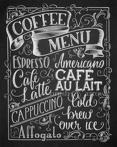 Your place to buy and sell all things handmade Coffee Menu printable chalkboard style instant digital Coffee Chalkboard, Blackboard Art, Chalkboard Lettering, Chalkboard Designs, Coffee Menu, Coffee Signs, Coffee Art, Coffee Shop, Chalkboard Drawings
