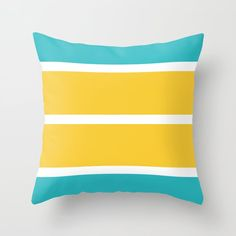Simple Stripes - Turquoise and yellow Throw Pillow by laec Yellow Throw Pillows, Throw Cushions, Couch Pillows, Designer Throw Pillows, Down Pillows, Floor Cushions, Pillow Design, Pillow Inserts, Cosy