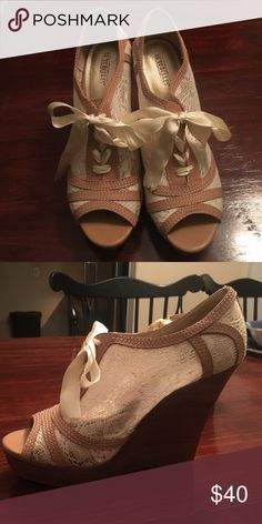Lace Wedges These Gently Used Vintage Inspired Lace Wedges Are A Perfect Timeless Accessory To Any Outfit! Seychelles Shoes Wedges
