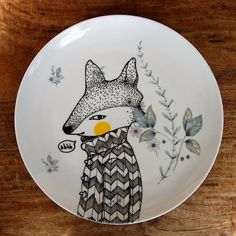 Hand Illustrated Vintage Ceramic Plate  'Secret by GretelGirlDraws, $40.00