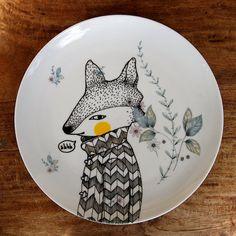 Hand Illustrated Vintage Ceramic Plate  'Secret by GretelGirlDraws, $40.00