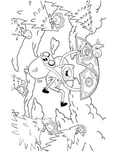 Adventure Time Finn And Jake Parachute With Money Coloring Page