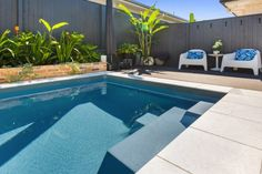 Best Madeira was awarded to Narellan Pools Sunshine Coast/Moreton Bay and Landscaped by Brizscapes for this beautiful and perfectly styled Madeira 6 Slate Grey. With the use of ekodeck for low maintenance and bricks from the to mix the old with new. Pond Tubs, Wood Pool Deck, Pool Quotes, Free Pool, Fiberglass Swimming Pools, Pool Fashion, Luxury Landscaping, Pool Builders, Sunshine Coast