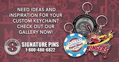 Need ideas and inspiration for your custom keychain? Check out our gallery now! http://www.signaturepins.com/keychaingallery1-html/  #SignaturePins #CustomKeyChains #GreatInvestment #MoreThanLapelPins #KeyChainGallery