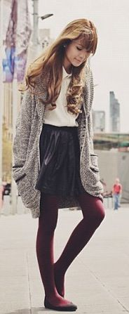 A long grey cardigan maroon opaque tights a black skirt and white top perfect. Colored Tights, Opaque Tights, Complete Outfits, Plus Size Outfits, Skirt Outfits, Dress Skirt, White Outfits, Cool Outfits, Long Grey Cardigan