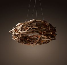 Salvaged Driftwood Ring Chandelier.  DIY with locally collected twigs/branches?