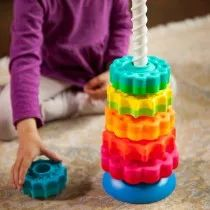 It's a stacking toy with a spin—literally!Drop the vibrant discs onto the threaded corkscrew pole and go ooooh as they spin fast and smooth to settle onto the reversible base. Choosing how to set the base is half the fun for your todd