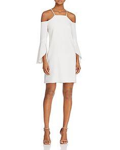Laundry by Shelli Segal Flutter-Sleeve Cold-Shoulder Dress   Bloomingdale's