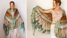 Roza Khamitova, a Melbourne-based fashion designer, has created a collection of scarves with birds' wings patterns. When you put the scarf on your shoulde Stylish Eve, Feather Scarf, Feather Fashion, Bird Wings, Boho, Wearable Art, Dame, Ideias Fashion, Kimono Top