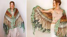 Roza Khamitova - Designer de moda cria lenços com desenhos de pássaros   Estilo