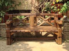 Charming Reclaimed Wood Garden Bench