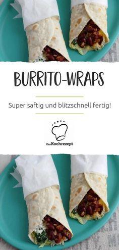 Geniale Burrito-Wraps kannst du mit diesem einfachen Rezept zuhause selber machen! Gefüllt mit Hüttenkäse, geriebenem Käse und Kidneybohnen schmecken sie richtig lecker. #wraps #burritos #snacks #fingerfood #picknick #mittagessen #daskochrezept #wrap
