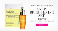 2-piece limited edition set only $10 with any $40 purchase!  $37.50 value, this limited-edition set includes: • Anew Vitamin C Brightening Serum- 1 fl. oz. reg. $30.00 • Anew Brightening Sheet Mask with White Pearl Essence - 1 sheet mask. $7.50 value. Reg. $30.00 for 4 Pack    #avon #skincare #sale #buyavon