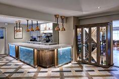 Kings Court Hotel, wine cabinet, glass cabinet, bar, unit design, modern, copper lights, copper lighting, lighting design, interior design, wood, blue