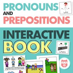 An interactive book that teaches a variety of prepositions and pronouns! A perfect speech therapy activity for preschool for non-verbal students with autism. From Speechy Musings.