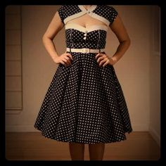 Hello Bunny Vixien Polka dot dress Hello Bunny Vixen black and white Polka dot A-line dress with sewn in bolero. Vintage inspired dress perfect for Spring and Summer. This dress is brand new with tag. The dress comes with a white belt, and is a size small. Hello Bunny Vixen Dresses Midi
