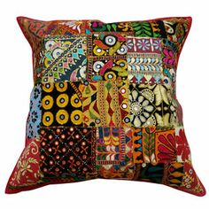 """Handmade Cushion Case Patchwork Kutch Embroidered Multicolor Pillow Cover 22""""  -  Ebay  $20.00"""