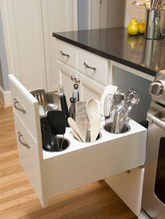 Creating the best smart kitchen storage is easier. Storage for your kitchen helps you to make your kitchen doesn't look messy so that you need it. However, when you create it, you have to know smart kitchen storage solution ideas… Continue Reading → Kitchen Room Design, Kitchen Cabinet Design, Modern Kitchen Design, Home Decor Kitchen, Kitchen Furniture, Kitchen Interior, Home Kitchens, Kitchen Designs, Dream Kitchens