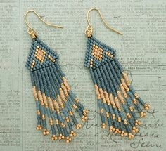 Native American Fringe Earrings - Blueberry & Gold