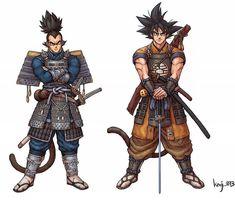 Samurai Vegeta and Goku By Kid Goku, Goku And Vegeta, Dragon Ball Z, Samurai Girl, Martial, Otaku, Empire, Anime Costumes, Ghost Rider