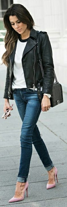 A black leather jacket + perfect way + casual t-shirt + jeans look + jacket + baseball tee + Christine Andrew + all-American style + perfect for everyday wear.   Jacket: AllSaints, Tee: ILY Couture, Jeans: Nordstrom.