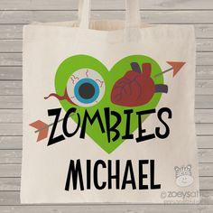 Halloween bag, zombie custom treat bag