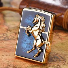 Japanese Plated Golden Blue 3D Marble Horse Zippo Lighter