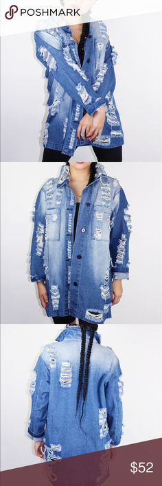 Distressed denim jacket Our ALPHA denim jacket has long sleeves and a loose fit. It has rips all throughout its straight cut bodess, sleeves and collar. It also has buttons for closure and two chest pockets.  Content + Care: - 100% cotton - Machine wash cold - MADE IN USA Blue District  Jackets & Coats Jean Jackets