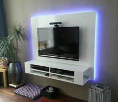 Diy entertainment center with electric fireplace. diy plan for tv cabinet, floating, with backlight, handmade by ron. Wall Tv Stand, Diy Tv Stand, Tv Unit Design, Tv Wall Design, Tv Furniture, Repurposed Furniture, Furniture Ideas, Tv Wanddekor, Floating Tv Stand