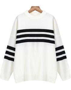 326b2b60a6b43 Shop Beige Long Sleeve Striped Knit Sweater online. Sheinside offers Beige  Long Sleeve Striped Knit Sweater   more to fit your fashionable needs.