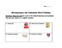 Students will practice reading subtraction word problems while reviewing their Jamestown and Werowocomoco facts!!!