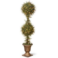 "Mini Tea Leaf 2-Ball Topiary Gold Urn 200 Clear Lights 60"" Tall Christmas Decor #NationalTree"