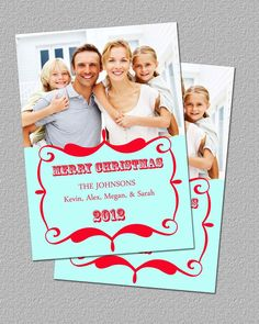 Red and Teal Photo Christmas Greeting Card, Holiday Photo Card