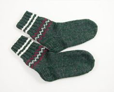 Hand Knitted Wool Socks  Green and Gray by UnlimitedCraftworks