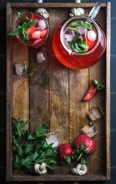Homemade strawberry lemonade by Foxys on @creativemarket