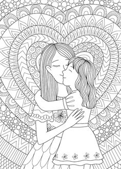 Daughter Hug Coloring Printable Mother's Day Card printable tags for mother's day day printables day printables for preschoolers day printables free day free printable cards Panda Coloring Pages, Mothers Day Coloring Pages, Doodle Coloring, Coloring Book Pages, Colouring, Barbie Coloring Pages, Mandala Coloring, Mother And Daughter Drawing, Mom Daughter