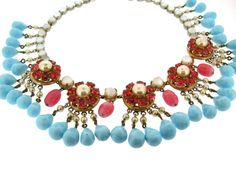 Mitchel Maer for Christian Dior Turquoise Ruby Glass Necklace 1950
