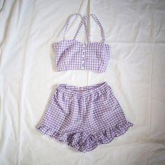 Purple Gingham Print Twin Set by AlteredStatesAu on Etsy