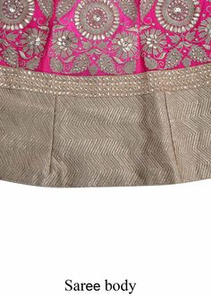 Pink lehenga saree featuring in georgette.  Its kali is heavily embellished in gotta patch work embroidery.  It comes with a unstitched blouse.  Slight variation in color is possible.  95% of our customers believe that the product is as shown on the website.