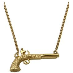 Wildfox Couture Jewelry Mini Gun Necklace in Gold ($39) ❤ liked on Polyvore featuring jewelry, necklaces, accessories, gold, gold jewellery, gold jewelry, wildfox jewelry, gold necklace and yellow gold jewelry