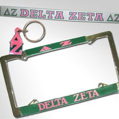 This special package is exclusively for Delta Zeta and includes everything you need for your car! (1) Delta Zeta License plate (1) Delta Zeta letter keychain (1) Delta Zeta car decal. Rush service is