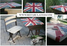 Union Jack on an Old School Desk, ages just right, some of our best work!