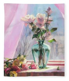 Morning's Glory, fleece throw blanket from Steve Henderson Collections, celebrating the beauty of a country morning and the joy of roses.