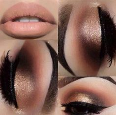 Gorgeous golden brown look with a nude lip