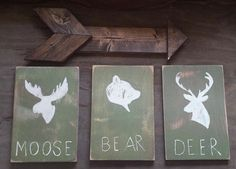 Cyber Monday Sale, Woodland Nursery Decor, Moose Bear and Deer Rustic Wood Set, Nursery Decor, Home Decor, Boy Bedroom, Gift for Baby by RusticLuvDecor on Etsy https://www.etsy.com/listing/251495756/cyber-monday-sale-woodland-nursery-decor